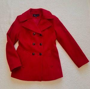 Anne Klein Ruby Red Wool SZ Med Pea Coat